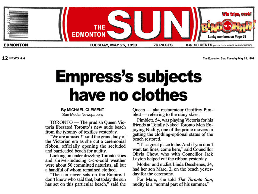 Edmonton Sun 1999-05-25  - Hanlan's Point CO-zone opens